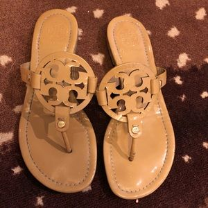 Tory Burch Miller Patent sandals- nude